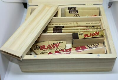 SMOKERS WOODEN ROLLING BOX RAW GIFT SET FILTERS KINGSIZE PAPERS CONE +More