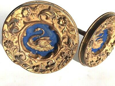 2 Antique Victorian Swan Figure Turquoise Gold Tone Repousse Metal Curtain Ties