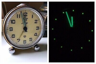 MUP Soviet Russia Alarm Clock Wind Up KAMHEN Dove Logo WORKS Tested & Keeps Time
