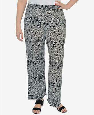 New Women Plus Size NY Collection Black White Printed Lounge Pants 1X 10507