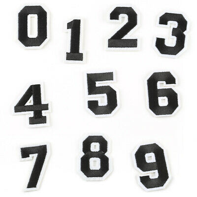 Fabric Applique Sticker 0-9 Numbers DIY Embroidered Sew Iron On Patches Badge