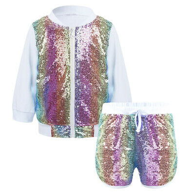 Toddlers Baby Girls Sequins Long Sleeves Zipper Sweatshirt Coat with Shorts Set