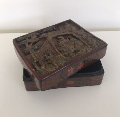 Chinese Lacquer Box Carved Giltwood Scene on Lid Chinoiserie Hollywood Regency