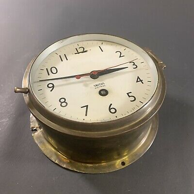 """Antique Brass-Cased 6"""" Smiths """"Astral"""" Ships Bulkhead Clock Nautical Maritime"""