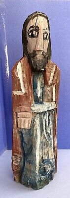 """Vntg New Mexico Santo: Hand Carved & Hand Painted Colonial Style Wood Statue 15"""""""
