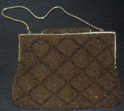 vintage golden brown beaded clutch purse made in Japan & beaded necklace