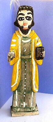 """Vntg New Mexico Santo: Hand Carved & Hand Painted Colonial Style Wood Statue 17"""""""