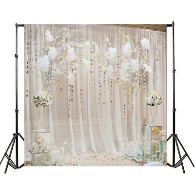 10x10ft Backdrop White Curtain Floral Wedding Background Studio Photography Prop