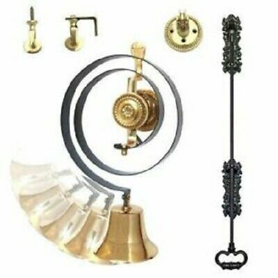Superb Classic Butlers Bell Kit , Brass, Black Iron Pull