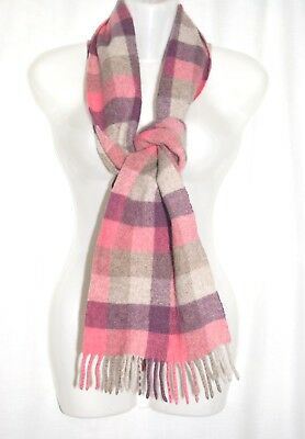 Wolsey:  Ladies 100% Lambswool Pink Check Scarf