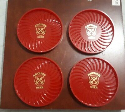 Set of 4 Red Plastic Anchor Beer Coasters
