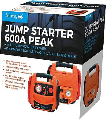 Simply SJS104 in 1 600A Portable Jump Starter Power Pack with Air Compressor