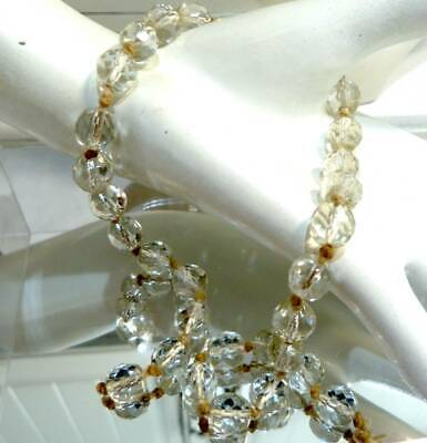 ANTIQUE ART DECO c 1930s CRYSTAL BEAD NECKLACE OLD GLASS BEADS FOR REPAI