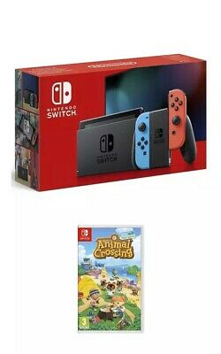 Nintendo Switch Console V2 Neon Red Blue With Animal Crossing New Horizons Game