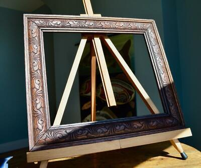 "SUPERB ANTIQUE VICTORIAN CARVED OAK PICTURE FRAME 12""X10"" REBATE v ARTS & CRAFTS"