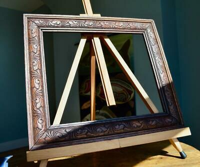"Superb Antique Victorian Carved Oak Picture Frame 12"" X 10"" Rebate Arts & Crafts"