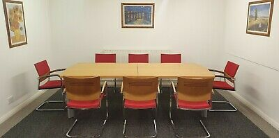 Boardroom-Meeting Table Set-Complete Inc 8 Quality Designer Chairs Red + Arms