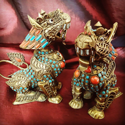 Antique Pair Chinese Foo Dogs Snuff Bottles Turquoise Coral Filigree Gilt Metal
