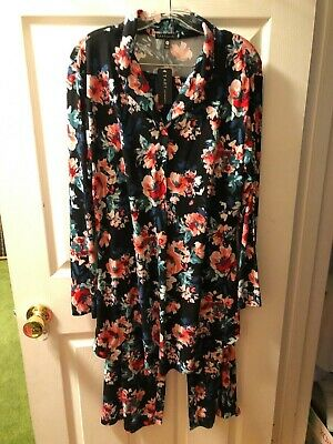 NWT TART INTIMATES PAJAMA SET, TUNIC TOP, BLACK FLORAL, STRETCH WAIST Size M