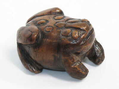 Chinese Antique Well-Carved Wood Frog 19th Century Scholar Object 19世紀手雕木蟾蜍
