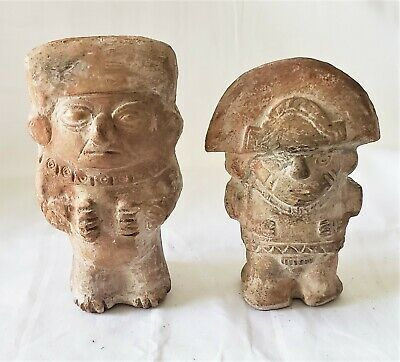 Pottery Figure Sculpture Aztec Toltec Mayan Protector Warrior Pair Pre Columbian