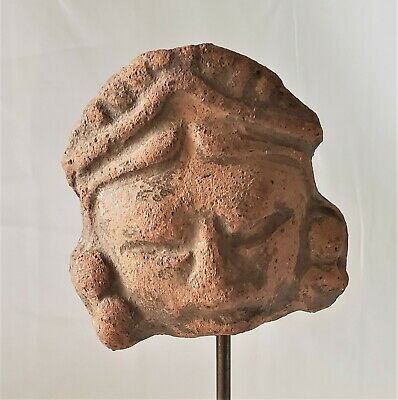 Pottery Sculpture Aztec Toltec Mayan Warrior Head Fragment Red Clay PreColumbian