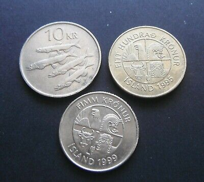 Iceland 5, 10 and 100 Kronur From 1990's