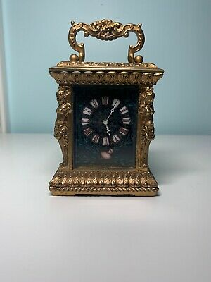 Hands Antique French Carriage Clock - Fine Brass Good Condition - Porcelain Face