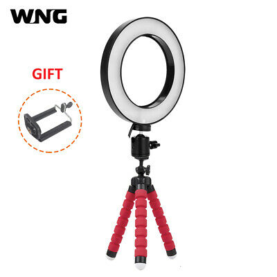 "6"" LED Ring Light Dimmable 3 Color Adjustable 3200K/5600K Mini Tripod Phone Clip"