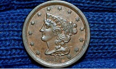 1857 HALF CENT** AU++ / UNC ** CHOICE BROWN** take 5% off at checkout