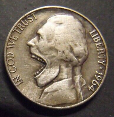 Hand Carved  Hobo nickel  Big Mouth  Jeff  unsigned
