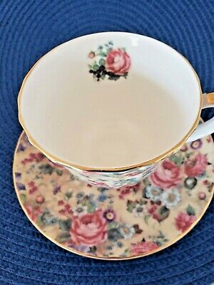 Staffordshire Royal Patrician Chintz Footed Bone China Cup & Saucer Mint!