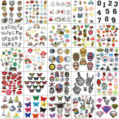 Fabric Applique Sticker Craft Mix Bags DIY Embroidered Sew Iron On Patches Badge