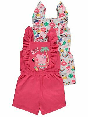 George Girls Official Peppa Pig Tropical Print Playsuit 2 Pack