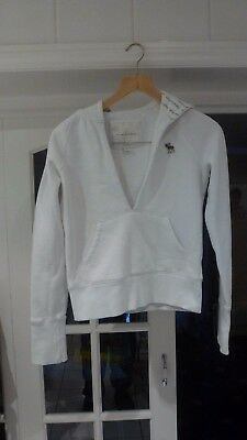 Abercrombie Girls Hoodie White Open Neck Size Large