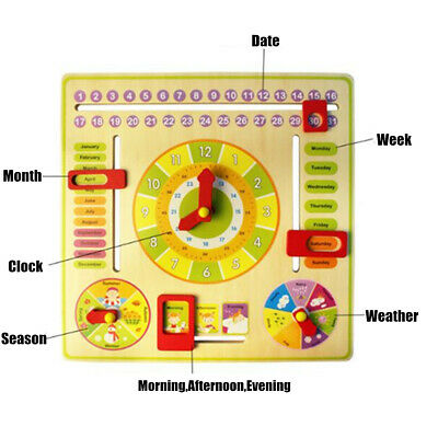 Educational Multifunction Wooden Learning Clock,Time,Date,Months,Seasons,Weather