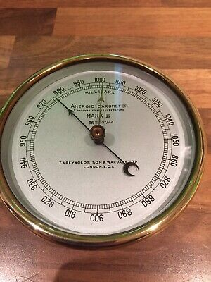 Vintage WW2 Reynolds MKII Brass Ships Aneroid Barometer Maritime Marine Nautical