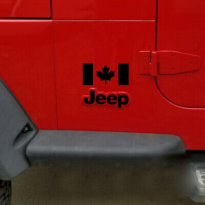Pair of Canadian Flag Decals For Jeep car or truck fenders windows doors Canada