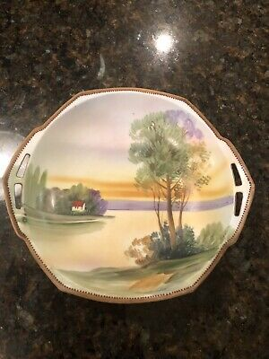 Vtg Nippon Hand Painted Handled Porcelain Bowl With Scenic Lake House Noritake