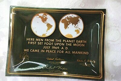 Vintage ~  Apollo 11 ~ First Men On The Moon ~ July 1969 ~ Tray ~ Plate