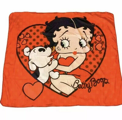 BETTY BOOP Collectible Puppy Dog Kiss  Fleece Red Dress Throw Heart Love Blanket