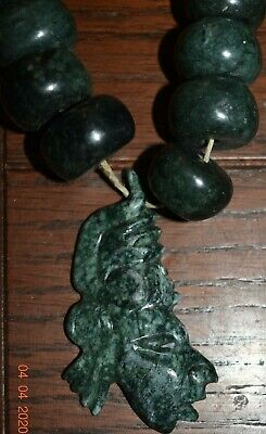 "Sale!! Pre Columbian Mayan Jade Necklace 14"" Prov"