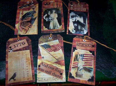 8~Primitive~4th of July~Americana~Linen Cardstock~Gift~Hang~Tags
