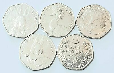 2016 Full Set of Beatrix Potter 50p Fifty Pence Coins Inc Jemima Puddle Duck