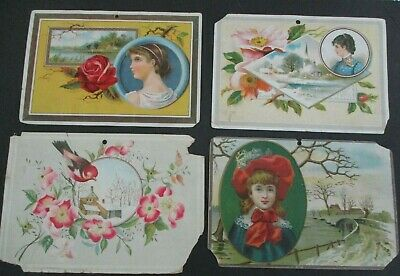 Lot of 4 CENTENNIAL AMERICAN TEA CO. Victorian Trade Cards, New Haven, CT, 1888
