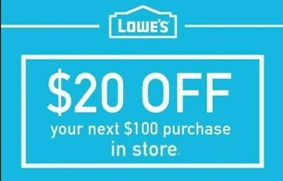 Lowes $20 OFF $100 FASTEST DELIVERY-1COUPON INSTORE ONLY EXP 5/31