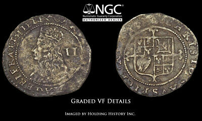 ENGLAND. Charles II, 1660-1662, Silver Halfgroat, NGC VF Details