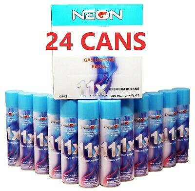 Neon 11x Filtered Butane Ultra Premium Refined Refill Lighter Cans 300ml 24 Cans