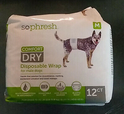 So Phresh Comfort Dry Disposable Dog Wraps for males, Count of 12 Medium