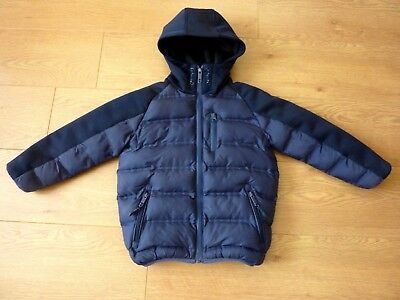 Next Boys Hooded Padded Navy Blue Puffa Coat Size Age 5yr